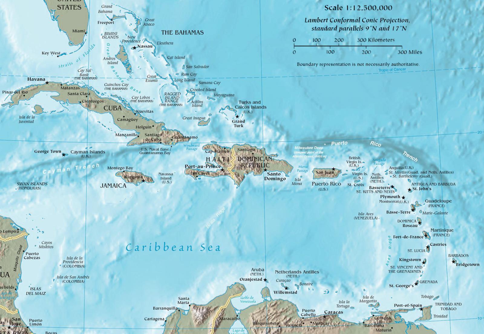 Mapa de la regió del Carib