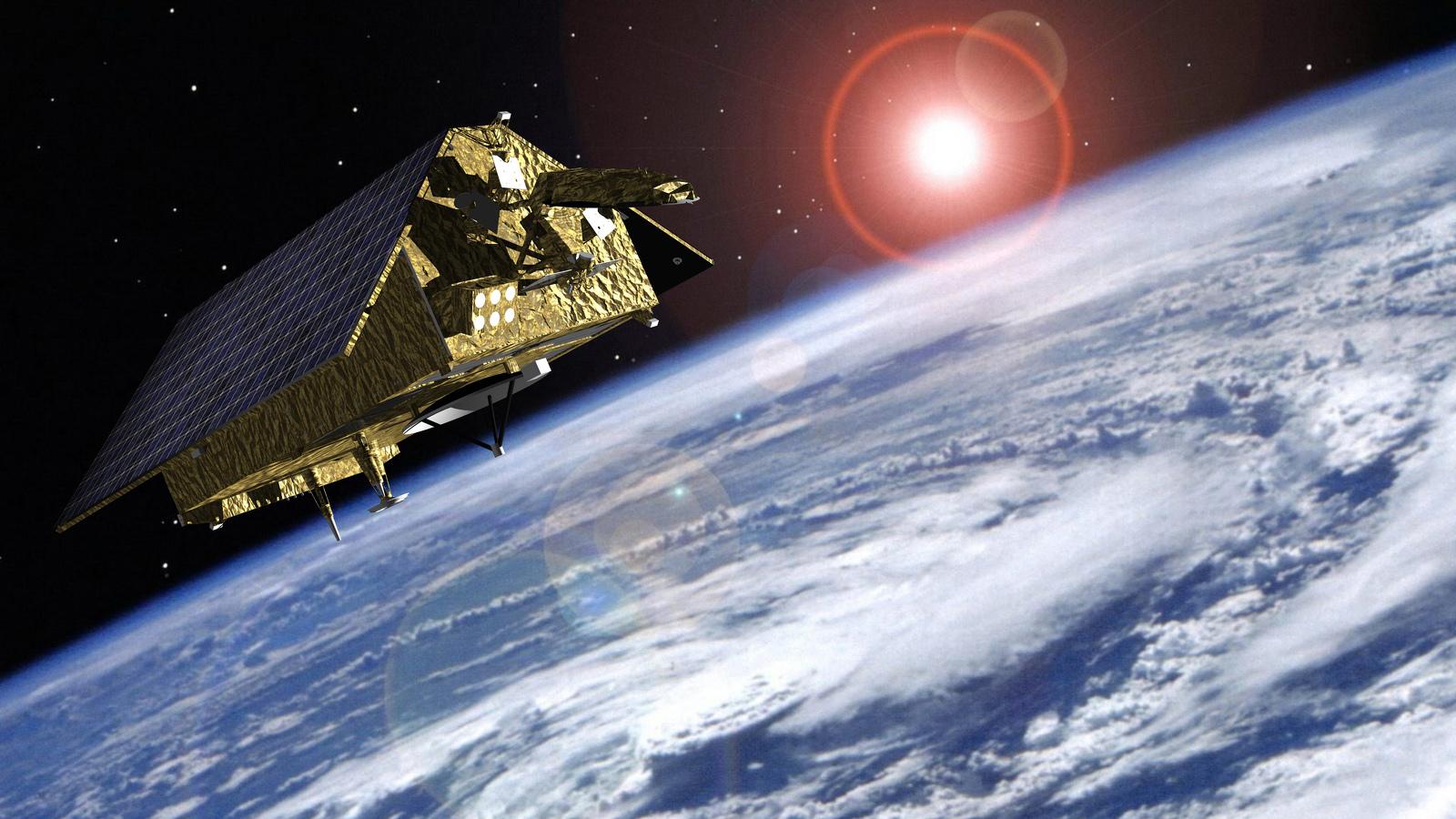 Representació artística d'un dels Sentinel 6 orbitant la Terra