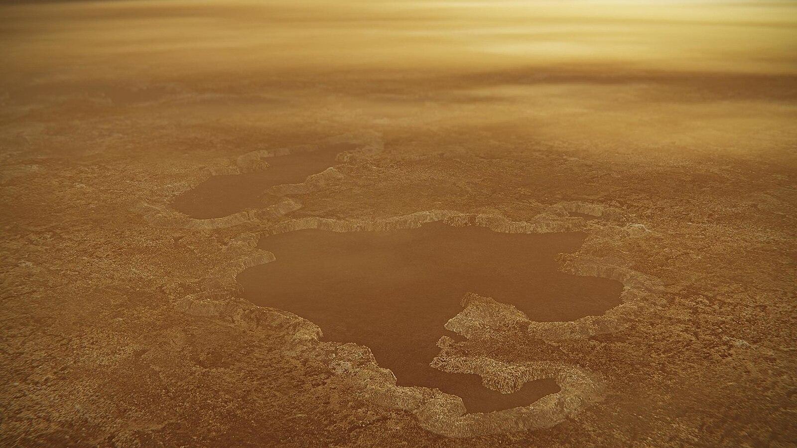 Representació de l'aspecte que podria tenir el pol nord de Tità