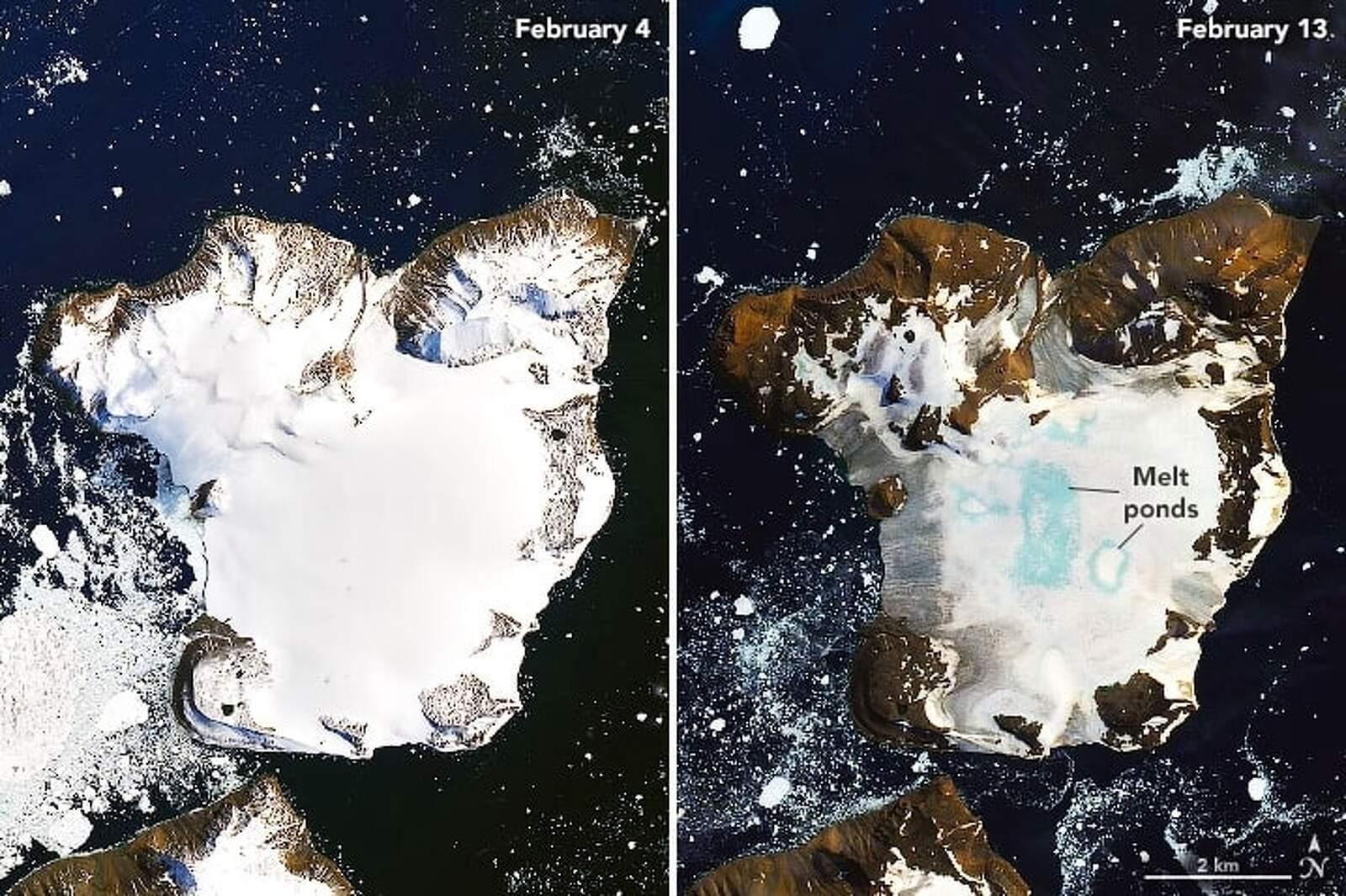 La diferència en la coberta de neu de l'illa Àguila entre el quatre i el tretze de febrer de 2020