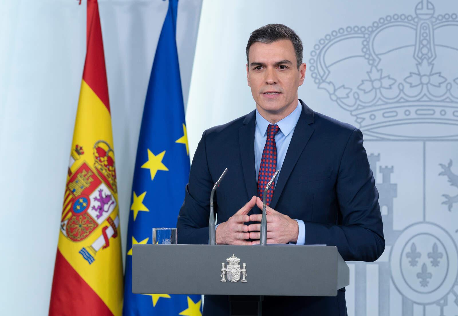El president del govern espanyol, Pedro Sánchez, durant la compareixença d'aquest 12 de març del 2020