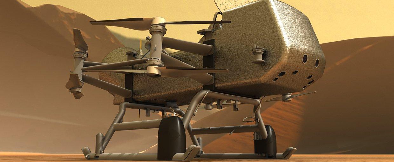 Reproducció de l'aspecte que tindrà el vehicle Dragonfly | NASA